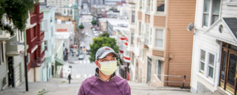 Henry Zhang in San Francisco on Feb. 16, 2021. (Beth LaBerge/KQED)